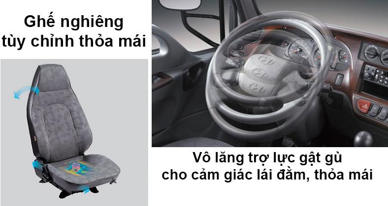 Vô lăng trợ lực gật gù và ghế điều chỉnh độ nghiêng trên xe tải Hyundai 7 tấn 110S