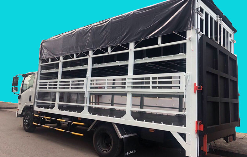 Đóng xe tải chở xe máy 2 tầng trên nền xe tải ISUZU 3.5 tấn đẹp