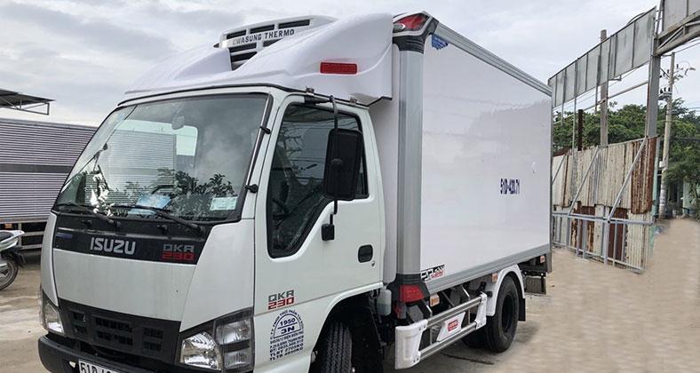 Xe tải thùng đông lạnh đóng mới 1t4