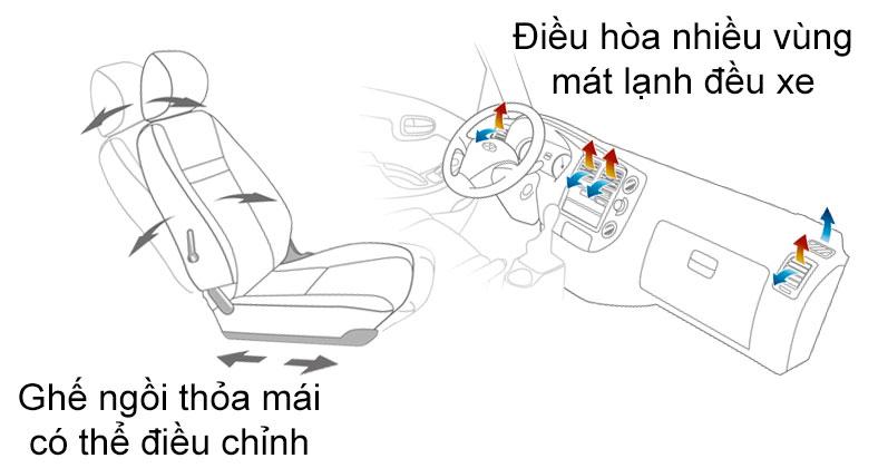 ghế chỉnh độ nghiêng và điều chỉnh nhiệt độ trong khoang cabin xe tải H150