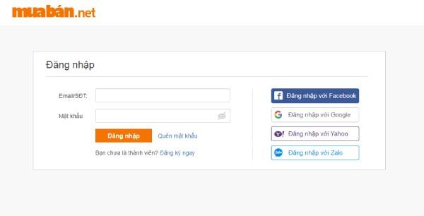 Đăng nhập Mua bán.Net bằng cách Đăng kí hoặc sử dụng các tài khoản MXH